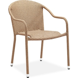 Aldo Outdoor Café Table and 2 Arm Chairs - Light Brown