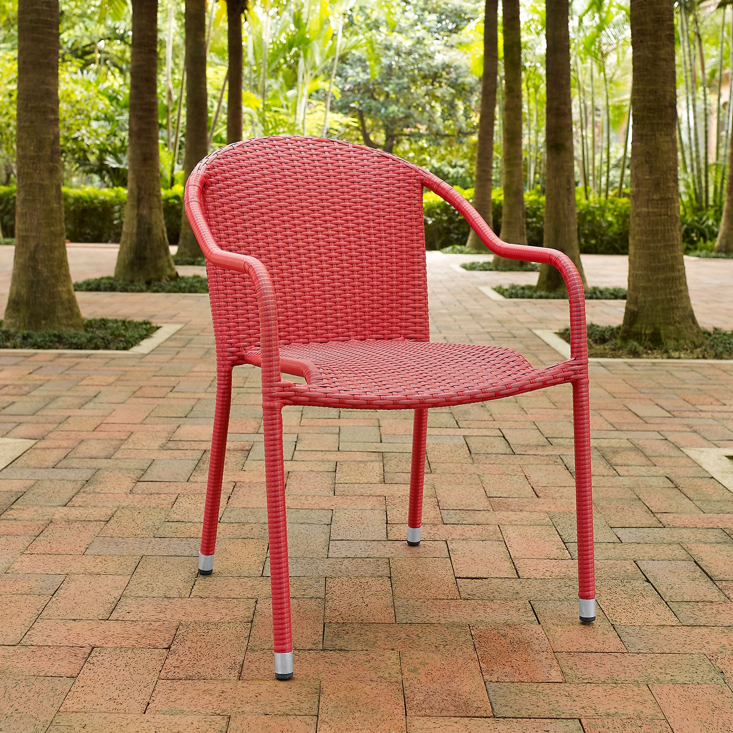Aldo Set Of 4 Stackable Outdoor Arm Chairs   Red
