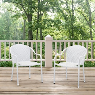 Aldo Set of 2 Stackable Outdoor Arm Chairs - White