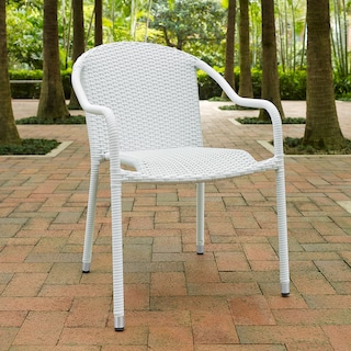 Aldo Set of 4 Stackable Outdoor Arm Chairs - White