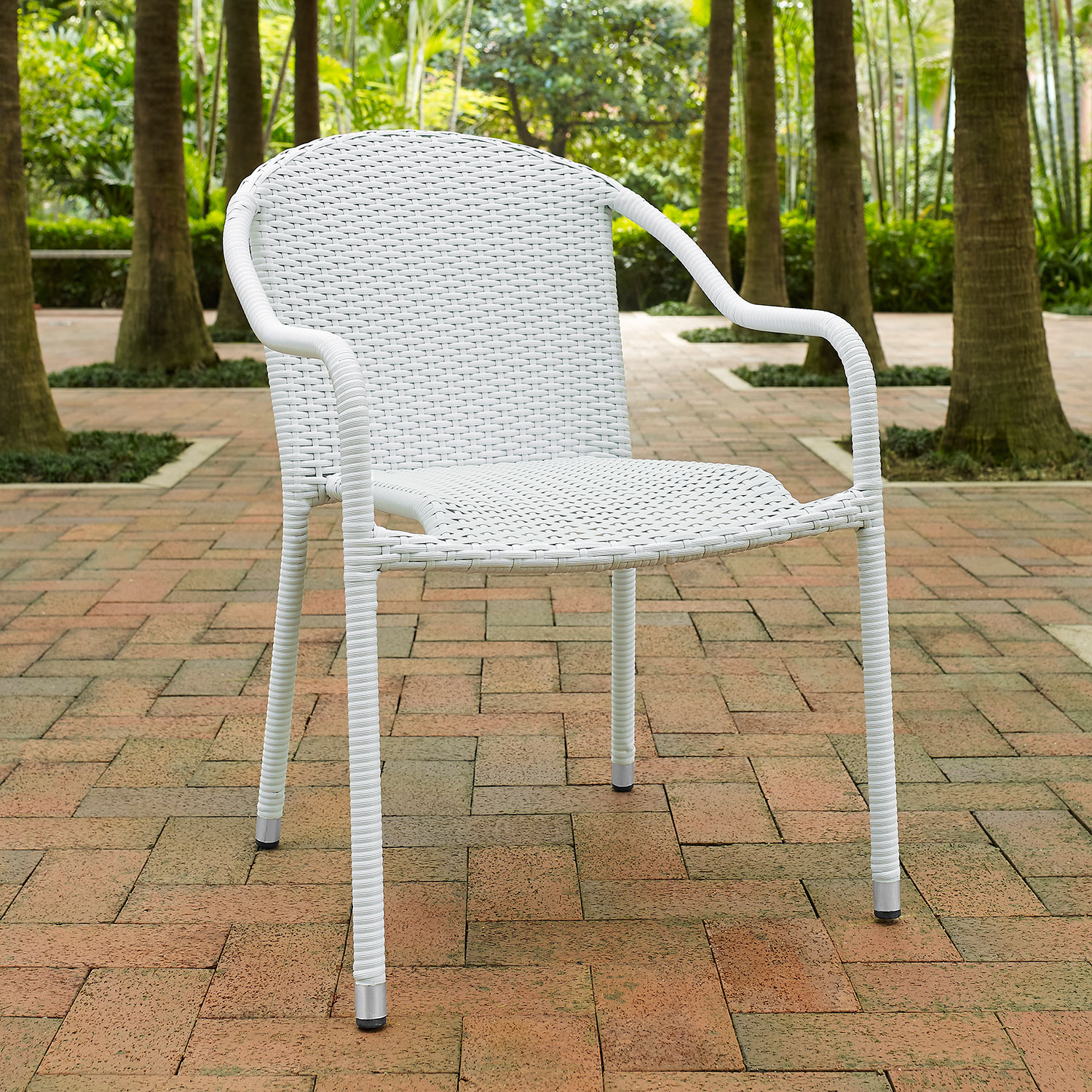 Aldo Set Of 4 Stackable Outdoor Arm Chairs   White