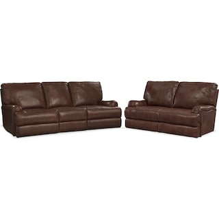 Kingsway Sofa and Loveseat Set - Brown
