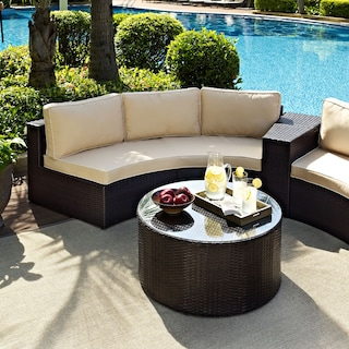 Biltmore Outdoor Sofa and Coffee Table Set - Brown