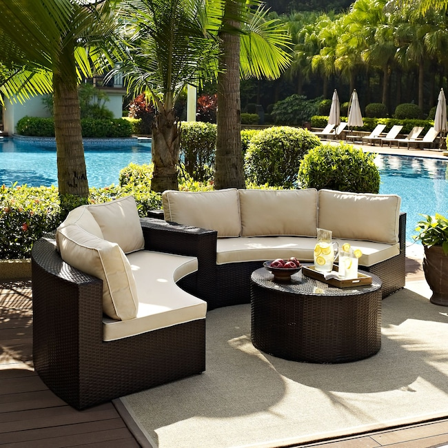 Outdoor Furniture - Biltmore 3-Piece Outdoor Sectional and Coffee Table Set - Brown