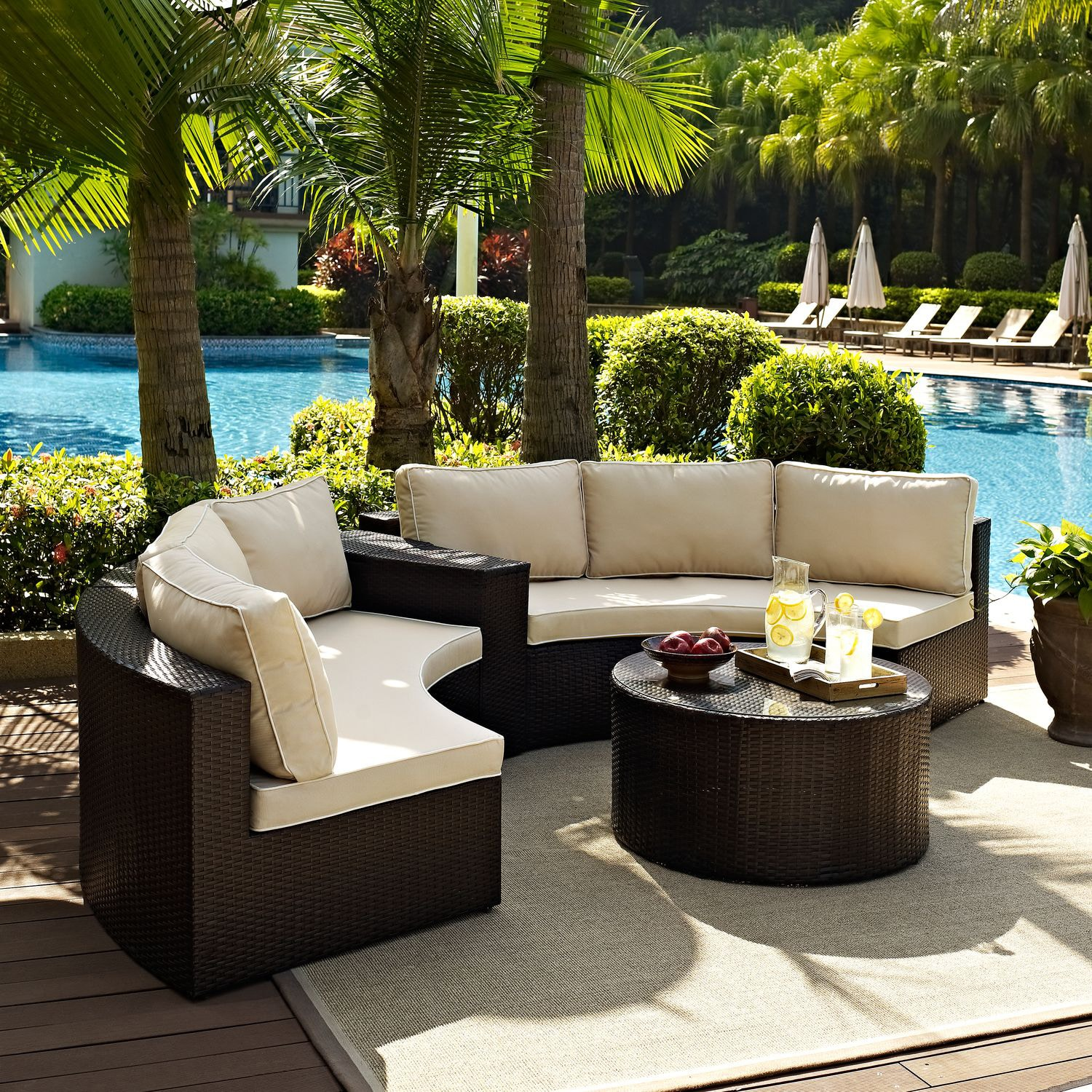 Genial Outdoor Furniture   Biltmore 3 Piece Outdoor Sectional And Cocktail Table  Set   Brown