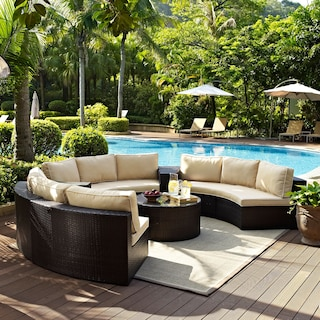 Biltmore 5-Piece Outdoor Sectional and Cocktail Table Set - Brown