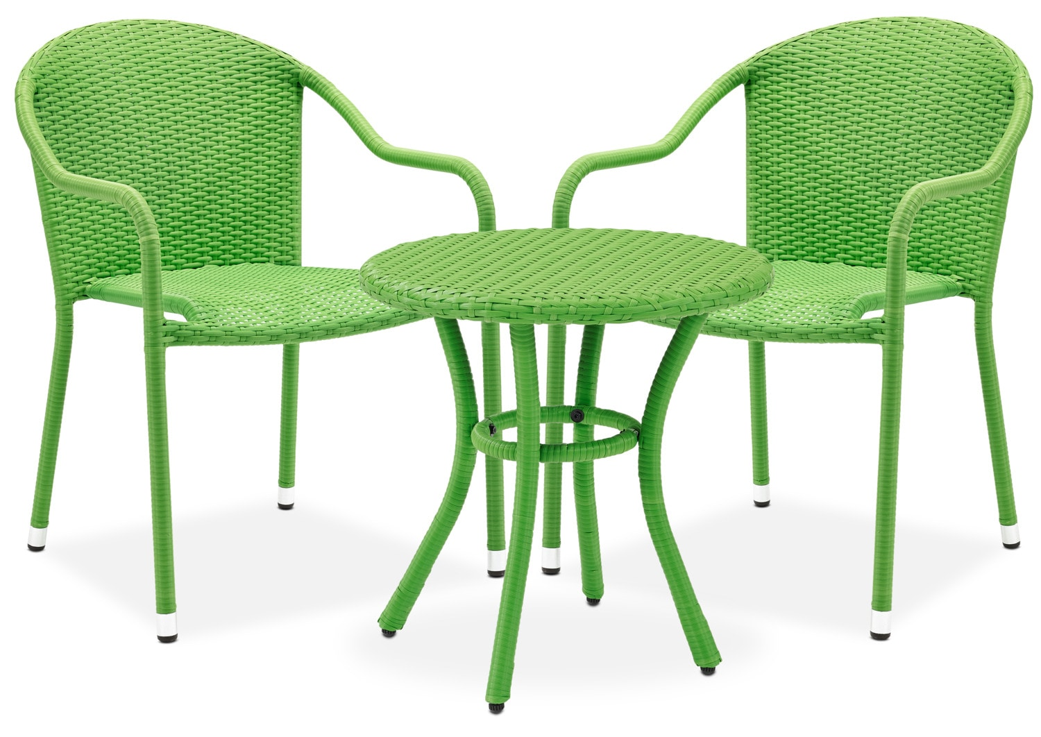 Aldo Outdoor Café Table And 2 Arm Chairs   Green