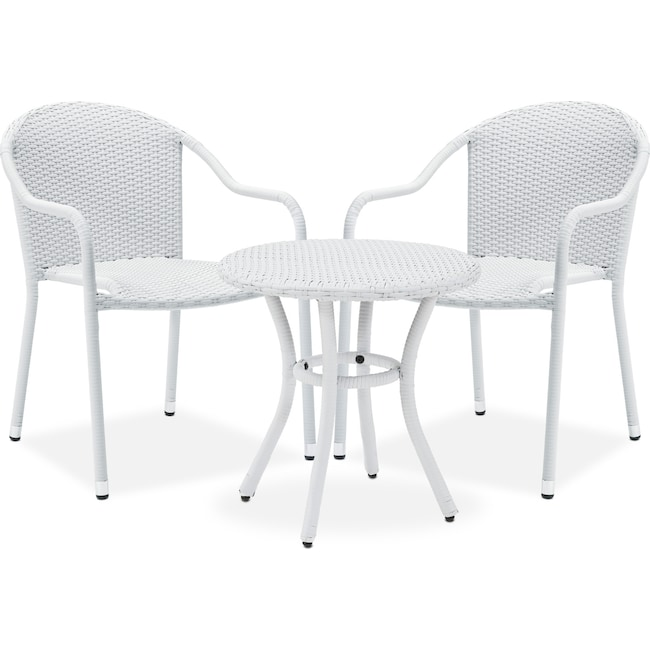 Outdoor Furniture - Aldo Outdoor Café Table and 2 Arm Chairs