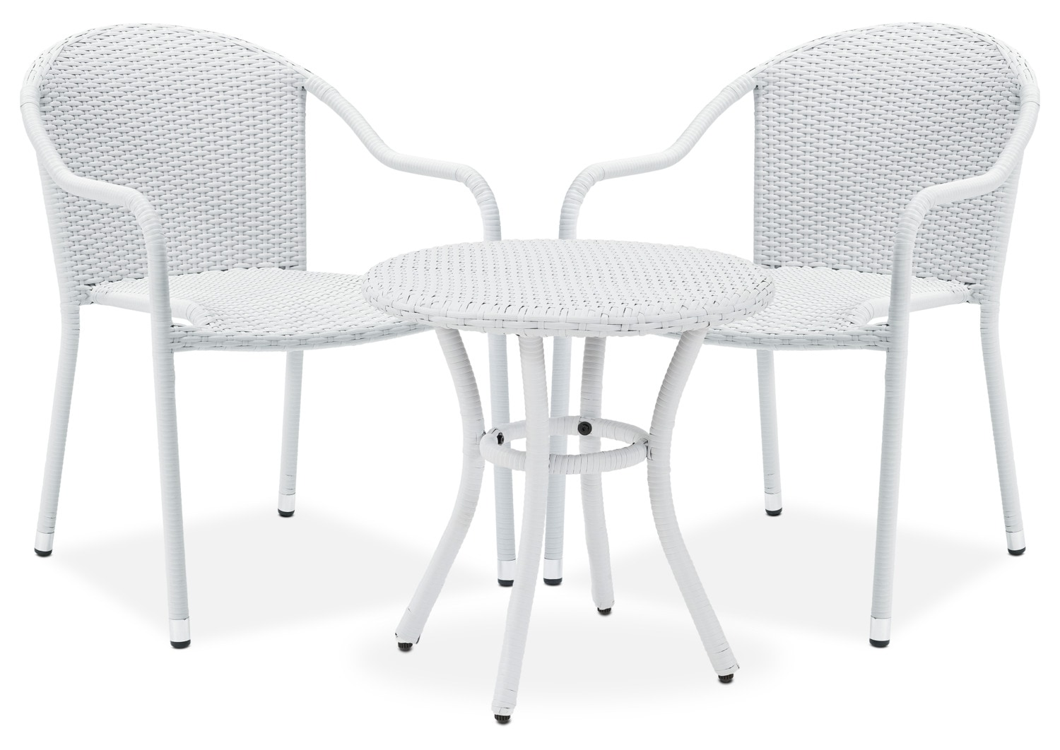 Wonderful Aldo Outdoor Café Table And 2 Arm Chairs   White Great Ideas