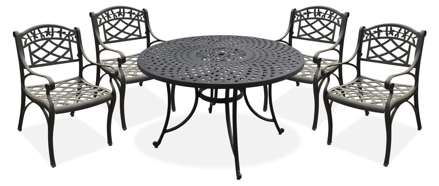 "Outdoor Furniture - Hana 46"" Outdoor Table and 4 Arm Chairs - Black"