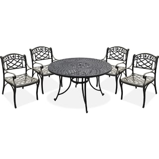 "Hana 46"" Outdoor Table and 4 Arm Chairs - Black"