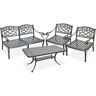 Hana Outdoor Loveseat, 2 Chairs and Cocktail Table Set - Black