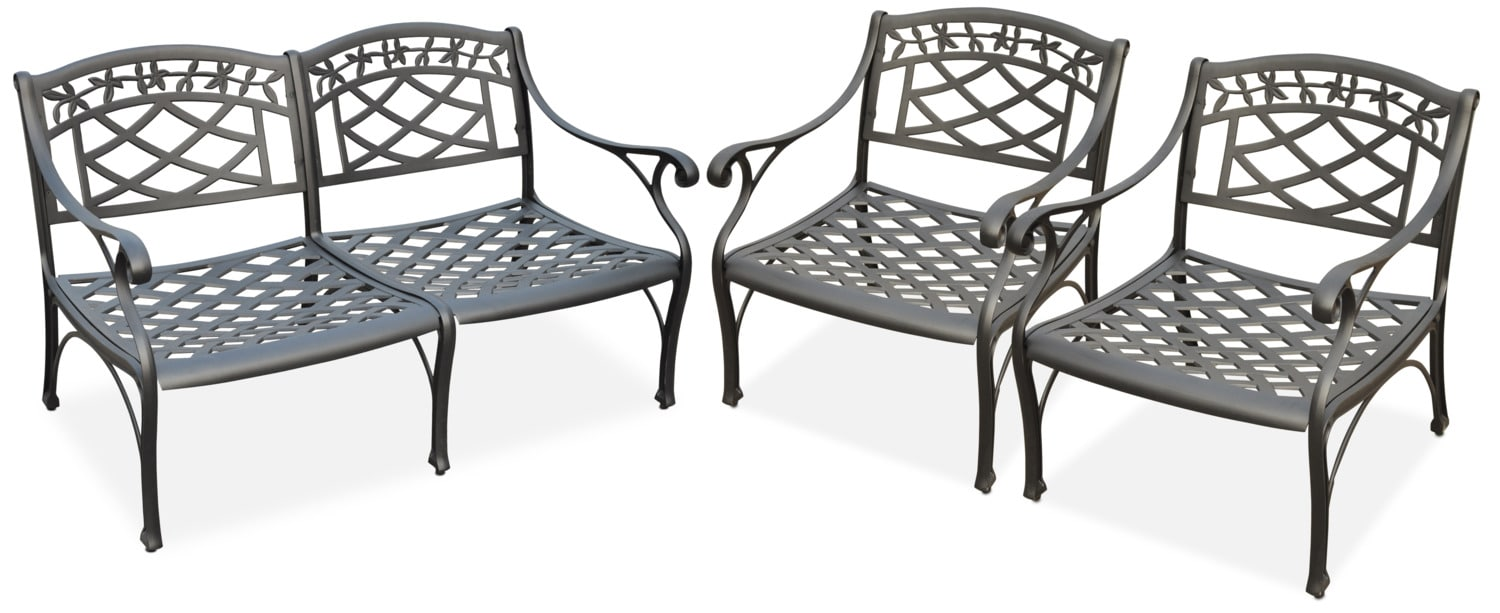 Outdoor Furniture - Hana Outdoor Loveseat and 2 Chairs Set - Black
