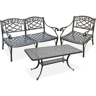 Hana Outdoor Loveseat, Chair and Cocktail Table Set - Black