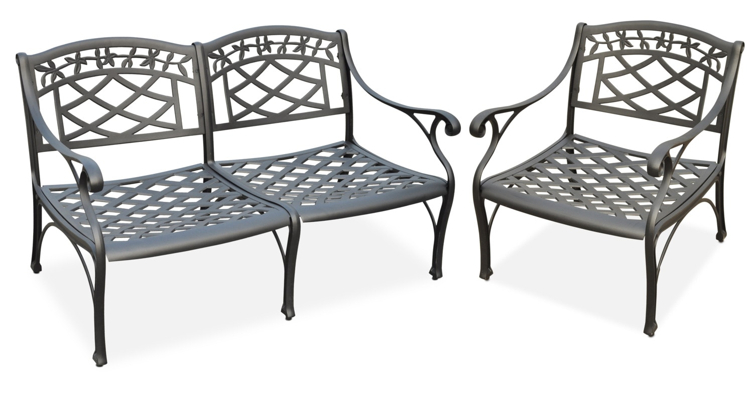 Outdoor Furniture - Hana Outdoor Loveseat and Chair Set - Black