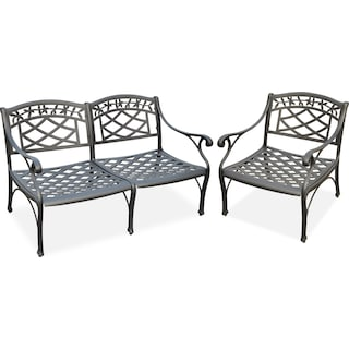 Hana Outdoor Loveseat and Chair Set - Black