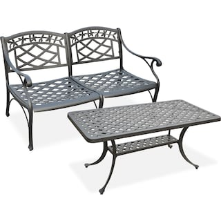 Hana Outdoor Loveseat and Coffee Table Set - Black