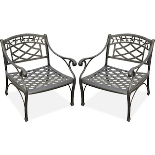 Hana Set of 2 Outdoor Chairs - Black