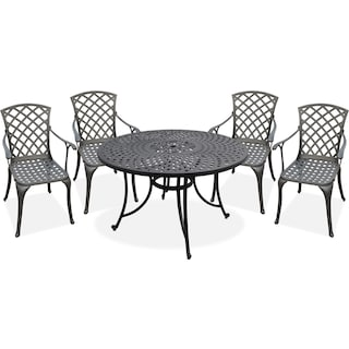 "Hana 46"" Outdoor Table and 4 High-Back Arm Chairs - Black"