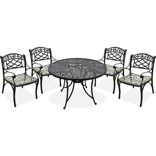 "Hana 42"" Outdoor Table and 4 Arm Chairs - Black"