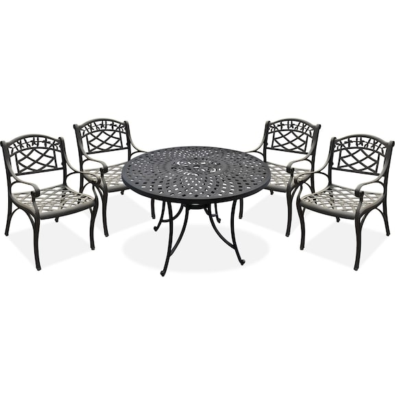 The Hana Outdoor Dining Collection Black Value City Furniture And Mattresses