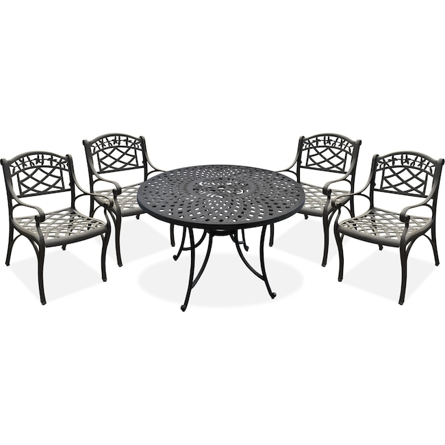 "Outdoor Furniture - Hana 42"" Outdoor Table and 4 Arm Chairs - Black"