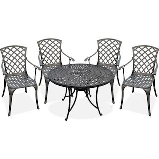 "Hana 42"" Outdoor Table and 4 High-Back Arm Chairs - Black"