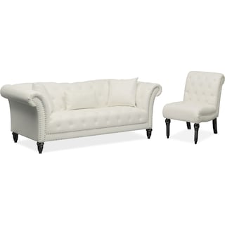 Marisol Sofa and Chair Set - White