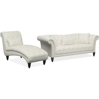 Marisol Sofa and Chaise Set - White