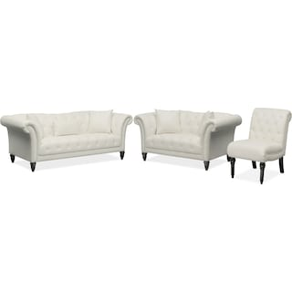 Marisol Sofa, Loveseat and Chair Set - White