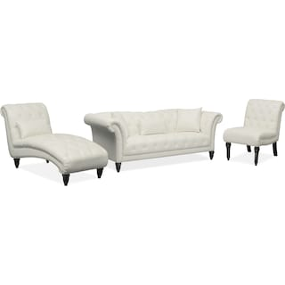Marisol Sofa, Chaise and Chair Set - White