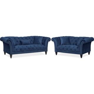 Marisol Sofa and Loveseat Set - Blue