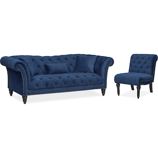 Marisol Sofa and Chair Set - Blue