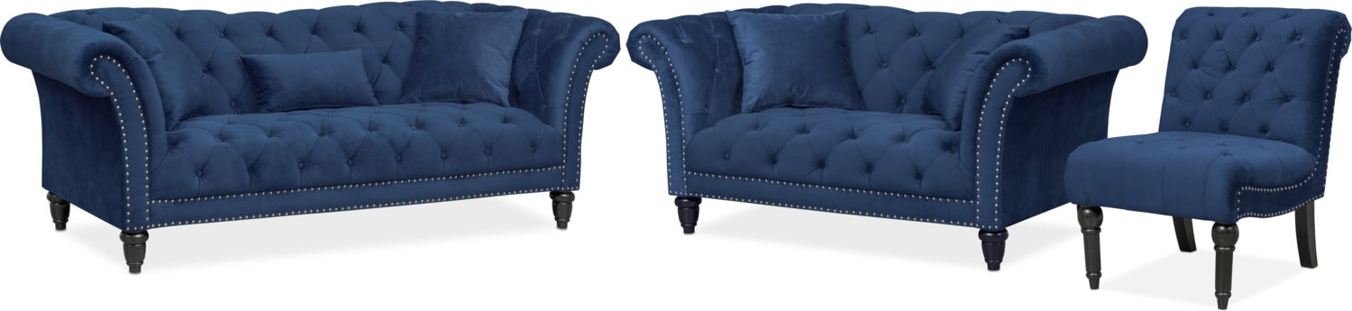 Living Room Furniture   Marisol Sofa, Loveseat And Chair Set   Blue