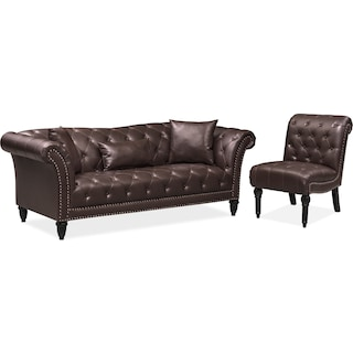 Marisol Sofa and Chair Set - Brown