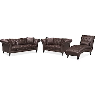 Marisol Sofa, Loveseat and Chaise Set - Brown