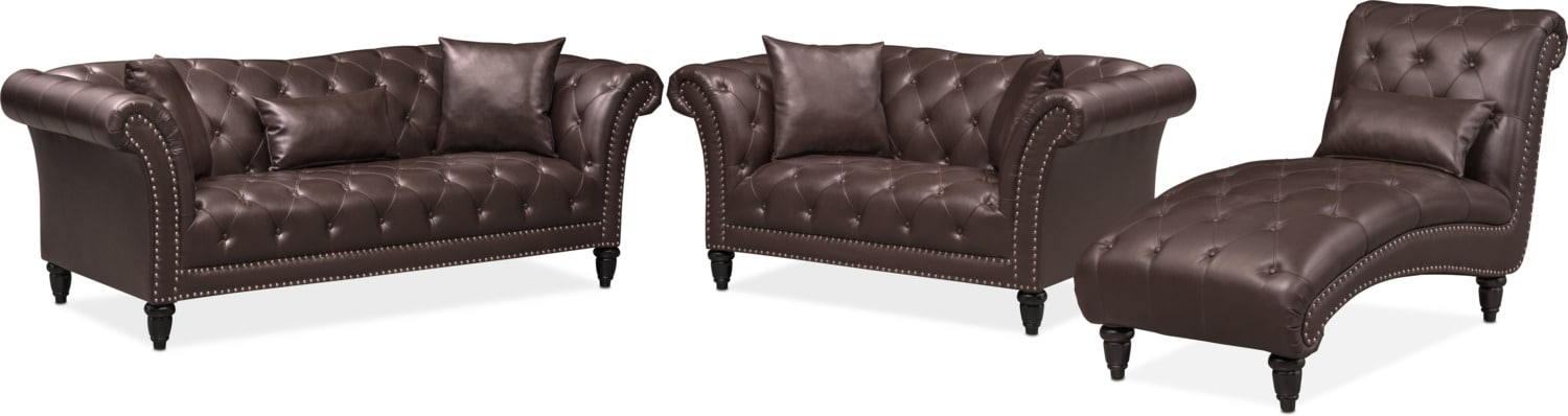 Living Room Furniture   Marisol Sofa, Loveseat And Chaise Set   Brown