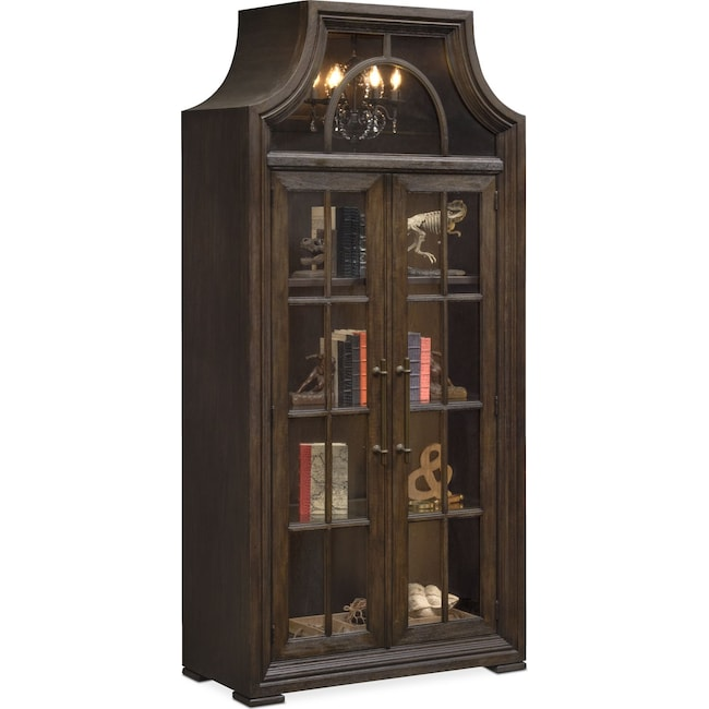 Accent and Occasional Furniture - Lancaster Display Cabinet with Hutch - Truffle