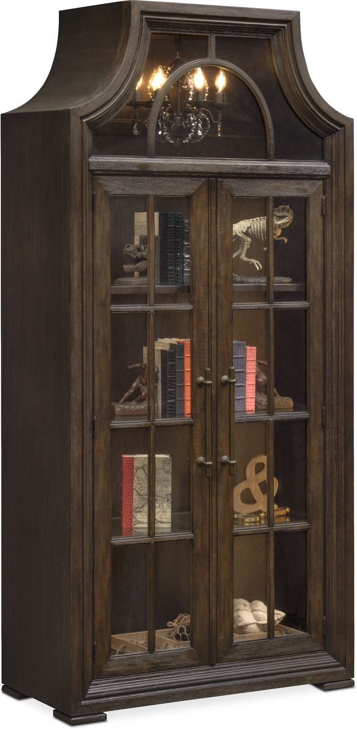 Beau Accent And Occasional Furniture   Lancaster Display Cabinet With Hutch    Truffle