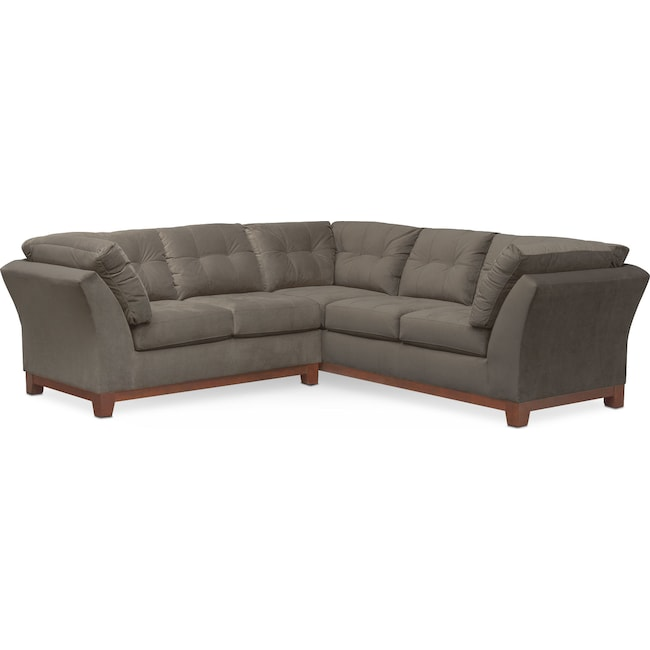 Living Room Furniture - Sebring 2-Piece Sectional with Left-Facing Loveseat - Gray