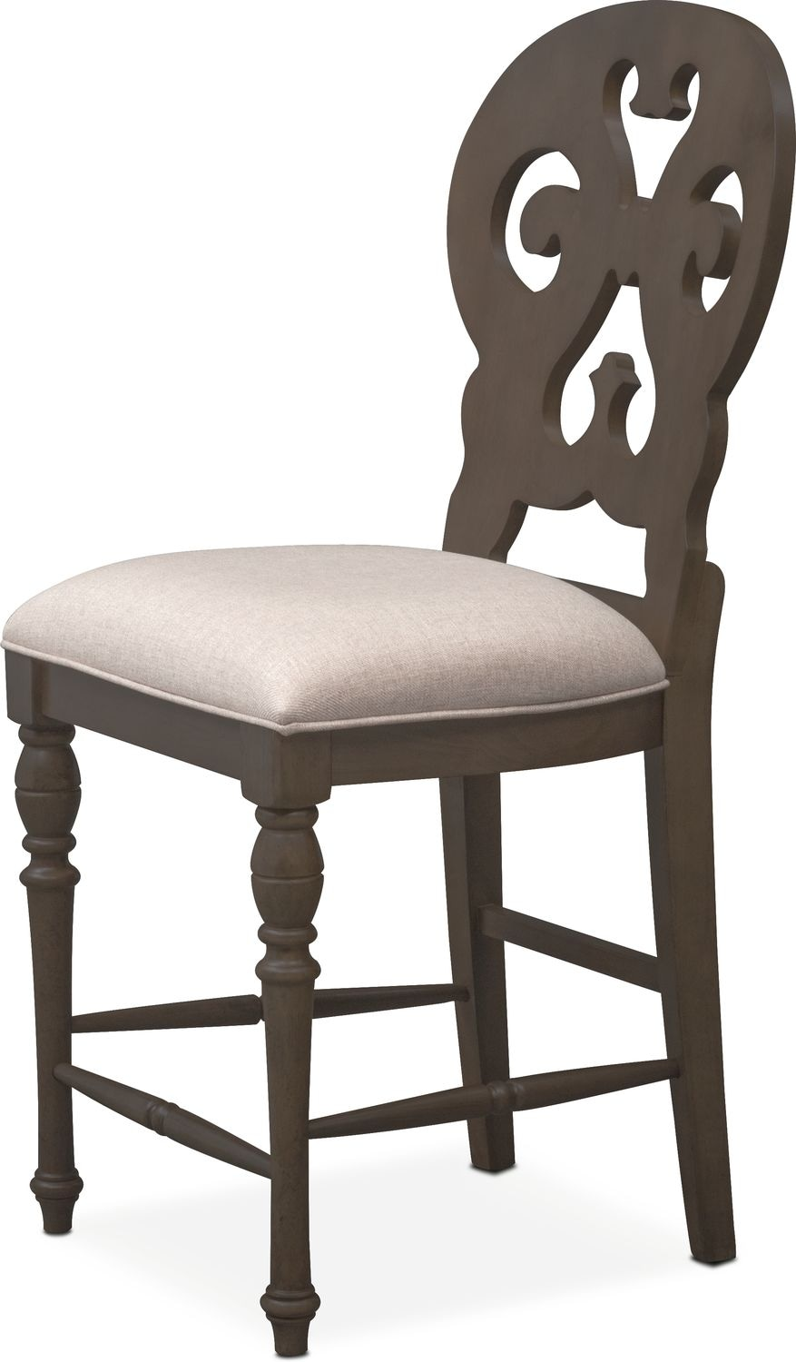 Charleston Counter Height Scroll Back Stool Gray Value