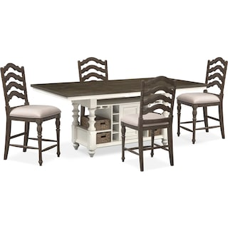 charleston counter height dining table and 4 stools gray and white. Interior Design Ideas. Home Design Ideas