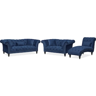 Marisol Sofa, Loveseat and Chaise Set - Blue