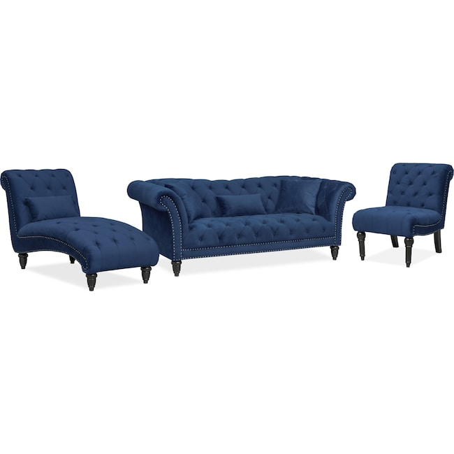 Living Room Furniture Marisol Sofa Chaise And Chair Set Blue