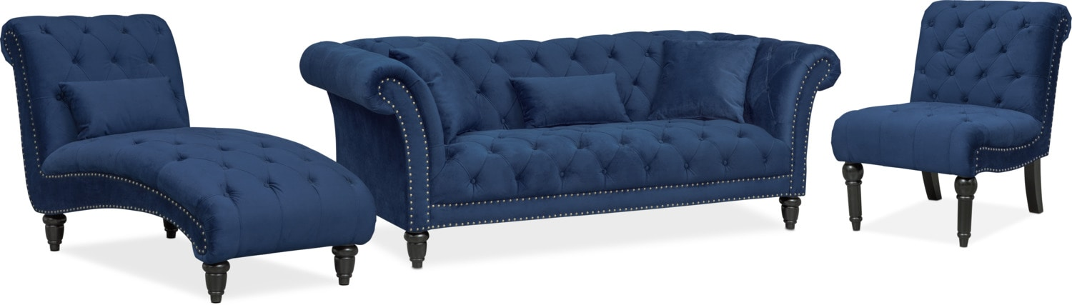 Charmant Living Room Furniture   Marisol Sofa, Chaise And Chair Set   Blue