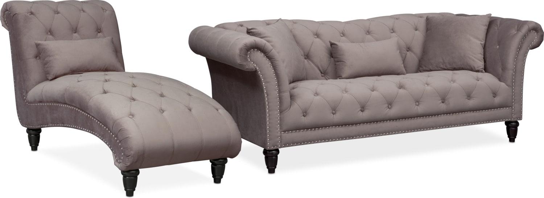 Marisol Sofa And Chaise Set Granite Value City Furniture And Mattresses