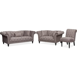 Marisol Sofa, Loveseat and Chair Set - Granite