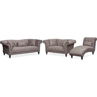 Marisol Sofa, Loveseat and Chaise Set - Granite