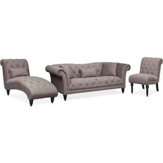 Marisol Sofa, Chaise and Chair Set - Granite