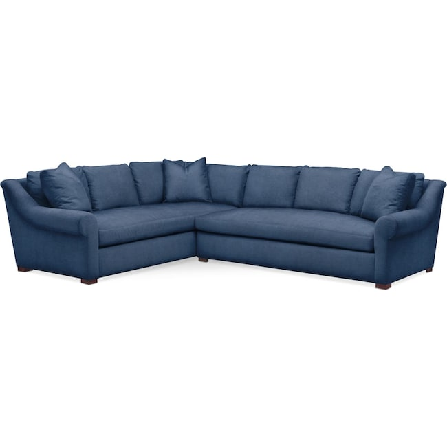 Living Room Furniture - Asher 2 Pc. Sectional with Right Arm Facing Sofa- Cumulus in Hugo Indigo
